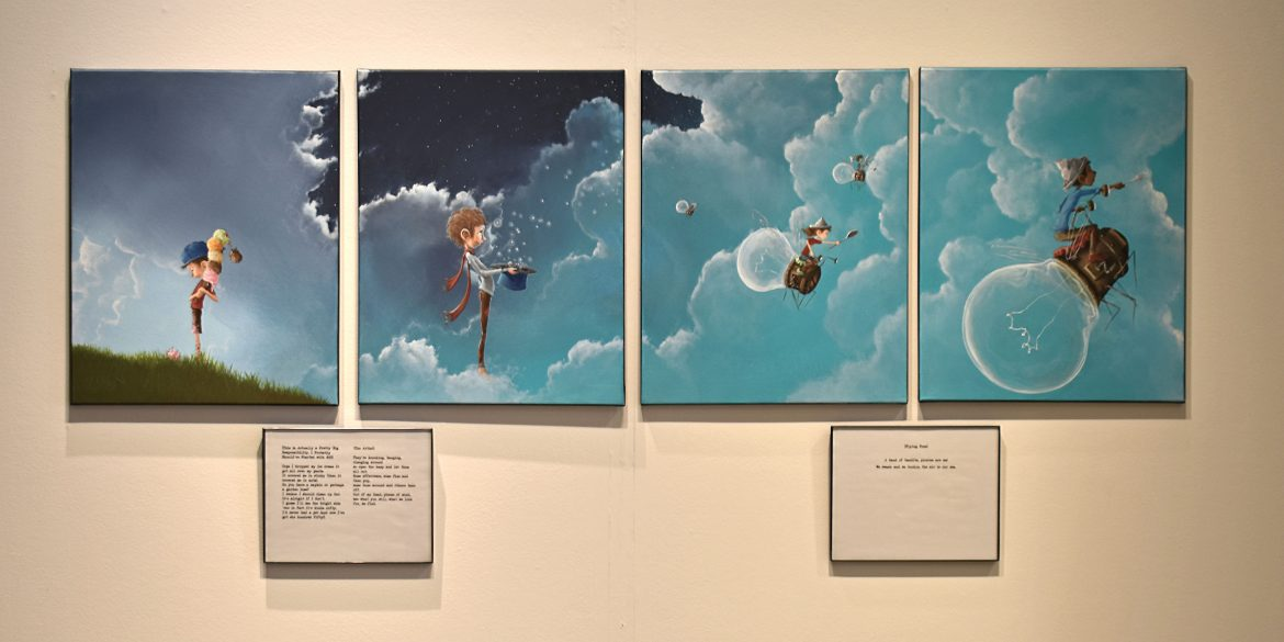 Selection of painting and poems at the Paper Airplanes exhibit.