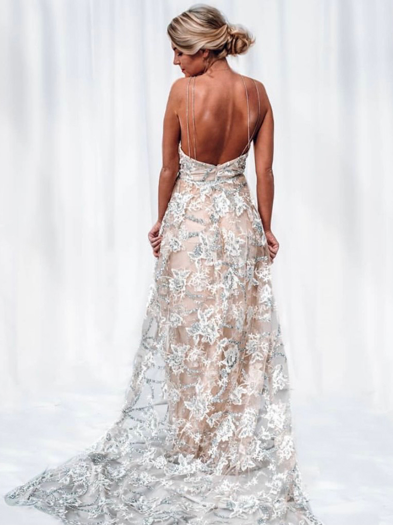 Shawna's Empire gown, back view.